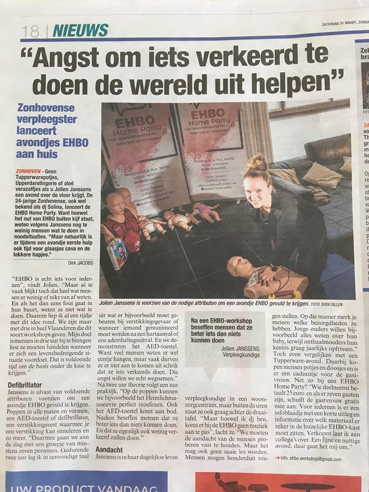 EHBO Home Party - EHBO Home Party in de krant !